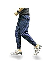 Men's Casual Basic Slim Tapered Skinny Fit Cargo Pants