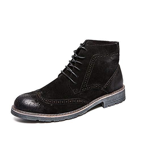 Stivali Stivali Brogue Lavoro Nero Color Classic da da Stampa Stivali da Stile Traspirante 39 Marrone da Uomo Scuro alla Casual 2018 Xujw shoes EU Dimensione Caviglia Uomo FaXxXS
