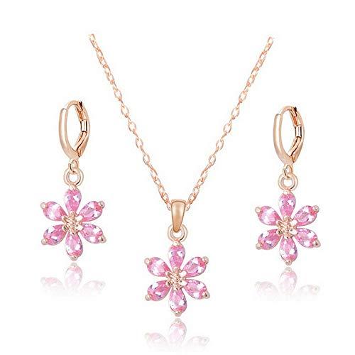 Monowi Womens Jewelry Set CZ 18k Gold Plated Austrian Crystal Flower Necklace Earrings   Model ERRNGS - 18290 - Bronze Marielle Set