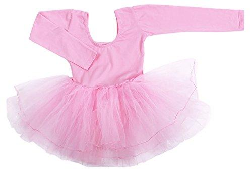 Cherry Girls Costumes (Little Baby Girls Princess Ballet Dance Costumes Leotard Cotton Long Sleeve Gymnastics Bodysuit Pink L)