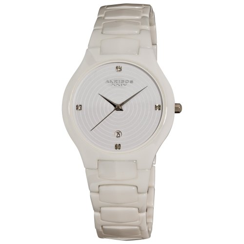 Akribos XXIV Women's AK516WT Slim Ceramic Watch with White Link Bracelet