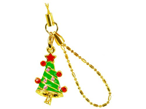 Cellet Christmas Phone Charm - With Sparkling Stones Cellet Christmas Phone Charm - Christmas Tree W/ Sparkling Red & Light Pink (Cellet Christmas Phone Charm)