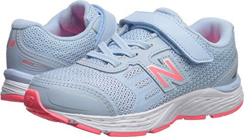 New Balance Girls' 680v5 Hook and Loop Running Shoe, air/Guava, 13 M US Little Kid