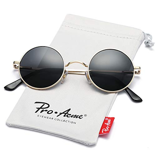 Pro Acme Retro Small Round Polarized Sunglasses for Men Women John Lennon Style (Gold Frame/Black Lens)
