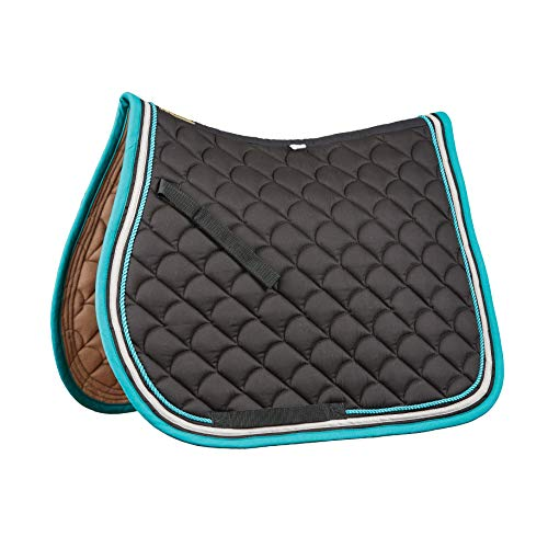 (Roma Crescent All Purpose Saddle Pad (Black/Grey/Turquoise))