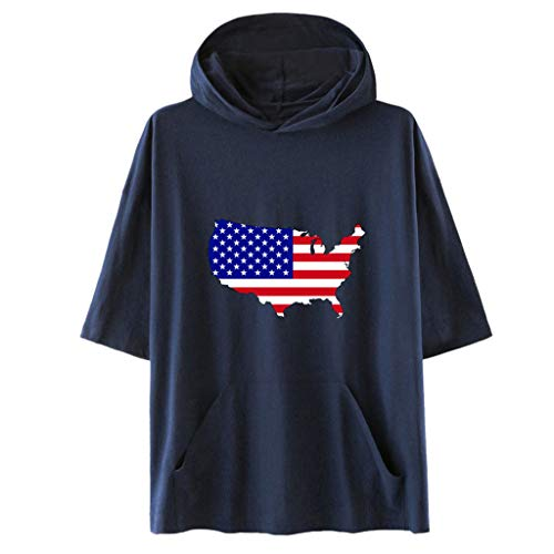 (FengGa Unisex Hooded Shirt Fashion American Independence Day Hooded Short Sleeve Flag Print Short Sleeve Jacket Shirt Navy)