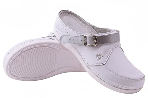 Clogs Color STEPSO Lightweight Women's Professional Leather Nursing Strap Comfort Silver Ankle White 7q7CERxwI