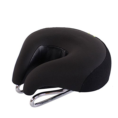Soft Bicycle Cushion Pad Wide Comfortable Bike Seat No Nose Mountain Bike Saddle Cycling Ergonomic Safety Reflective Tape (Black)