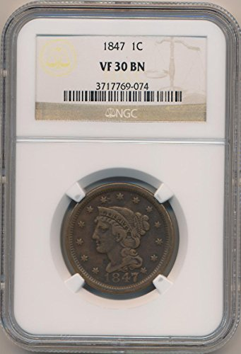 1847 P Braided Cent VF30 Brown NGC