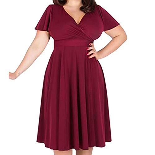 AMOFINY Women's Tops Dresses V-Neck Elegant Dress with Waistband and Large Size Dress Red