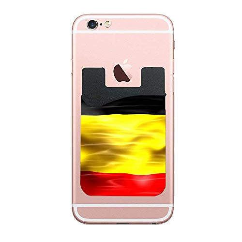 3M Adhesive Ultra Slim Phone Pocket Id Credit Card Holder Flag of Belgium Sleeves Pouch Compatible Phone, Samsung Galaxy, All Smartphones