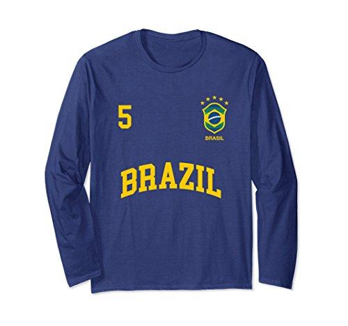 Unisex Long Sleeve Brazil Soccer Shirt 5 Brazilian Football Team Medium - Football Shirts Brazil