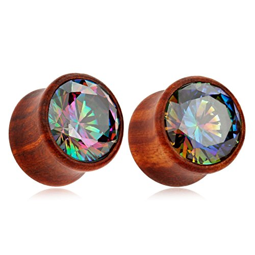 KUBOOZ(1 Pair Shining-Colorful-Zircon Wooden Ear Plugs Tunnels Gauges Stretcher Piercings
