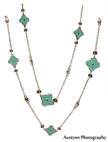 General Hospital Turquoise-color Golden VC&A Style Wrap-Around Clover 60 inch Long Necklace