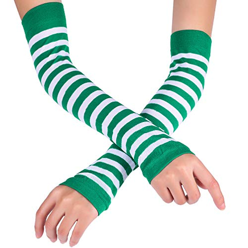 Patrick's Day Green and White Striped Arm Warmers Fingerless Gloves, One Size Fits Most ()