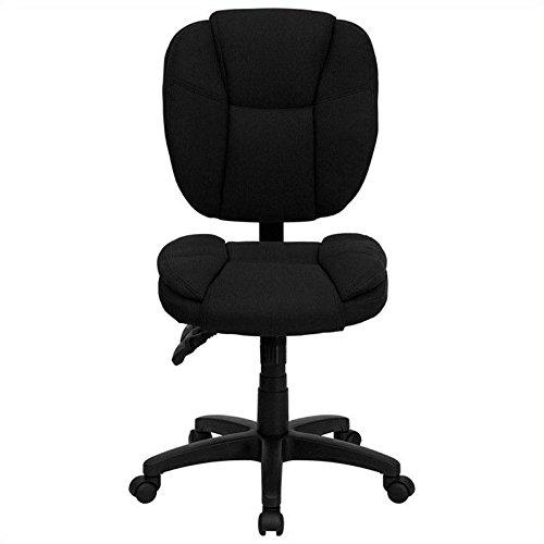 Flash Furniture GO-930F-BK-LEA-GG Mid-Back Black Leather