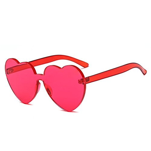 Bedis Colorful Transparent Heart Shape Sunglasses One Piece Rimless Eyewear BD210 (Rose Red, - Lens Eyeglasses Rimless Shapes For