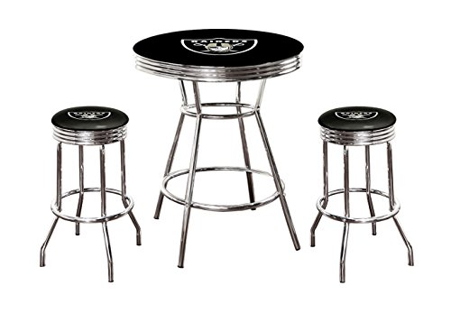 """Black Pub/Bar Table and 2 - 29"""" Swivel Stools All Featuring Your Favorite Football Team Logo (Raiders)"""