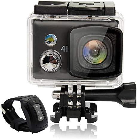 スポーツカメラ リモートコントロール4KのWiFi 2.5D網膜のタッチスクリーン防水FPVスポーツカメラ 使用可能 多数バイクや自転車や車に取り付け可能 (Color : Black, Size : One size)