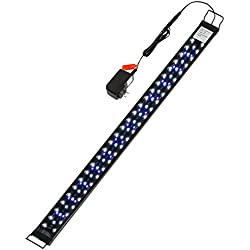 LED Aquarium Light 30-36Inch with Extendable Bracket Fish Tank Strip Light 20W, 100 Leds (Blue, White and Yellow)for Fresh and Slat Water
