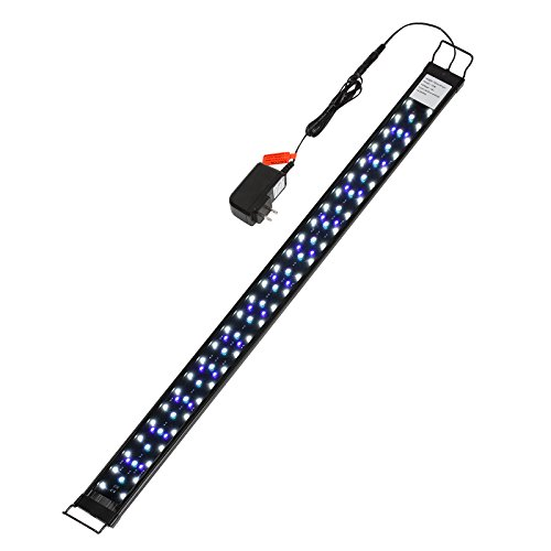 heneng LED Aquarium Light 30-36Inch with Extendable Bracket Fish Tank Strip Light Bar 20W, 100 Leds Blue, White and Yellow by heneng