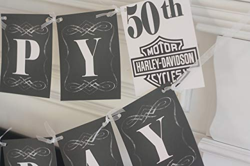 Happy Birthday Motorcyle Harley Davidson Vintage Over the Hill 30th 40th 50th 60th ChalkboardTheme Banner - Matching Items Available - Signs, Favor Tags, Cupcake Toppers etc. -