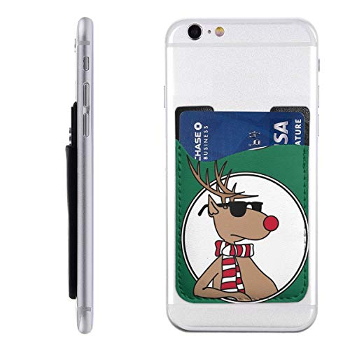 Konavol Real Santa Clipart Deer Mobile Phone Holder Backpack Wallet,PU 3M Adhesive Stick-on ID Credit Card Wallet Phone Case Ultra-Thin CardPack,Compatible with All Smartphones ()