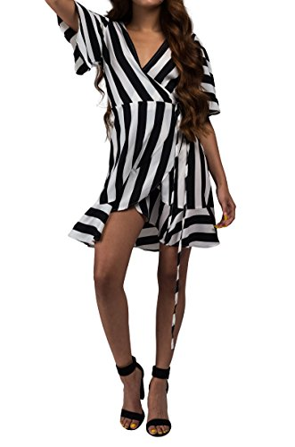 AKIRA Hem Black Mini Stripes Thick Wrap Wide Women White s Dress Ruffle Sleeve rqgPrpFS