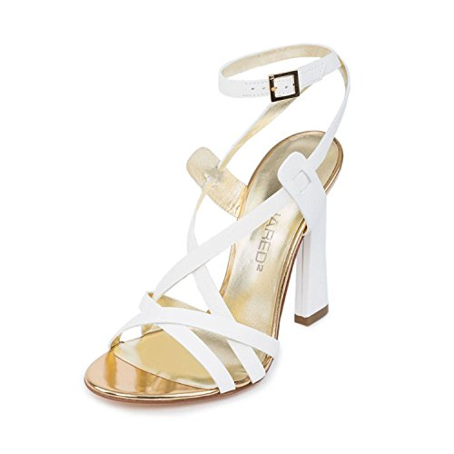 DSQUARED2 Women White & Gold Leather Ankle Strap Stiletto Heel Sandals Shoes US 7 EU 37 by DSQUARED2