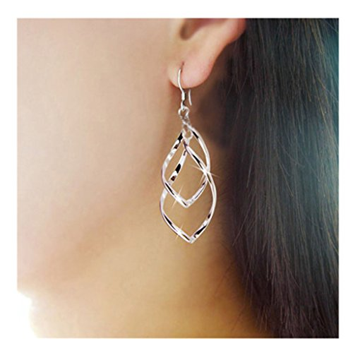 XILALU Fashion Women Alloy Plated Stud Dangle Earings Eardrop Jewelry Silver