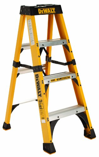 DeWalt DXL3410-04 4-Feet Fiberglass Stepladder Type IAA with 375-Pound Duty Rating, 4-Feet
