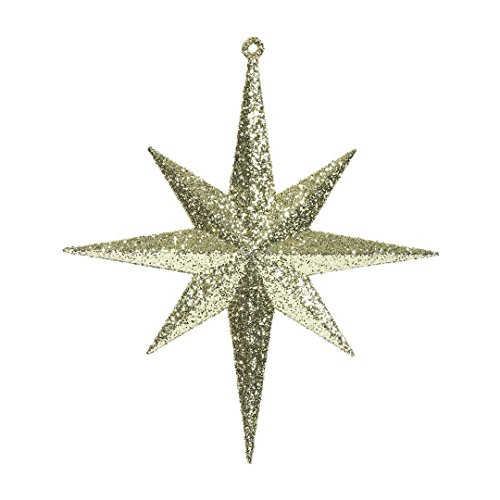 "Vickerman M167208 Plastic Iridescent Glitter Bethlehem Star 4/Box, 8"", Gold"
