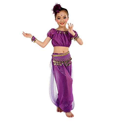 JOFOW Kid Girls Halloween Carnival Costume Set Belly Dance Outfit Festival Indian Sequin Sparkle Halter Top Harem Pants (130CM,Purple) ()