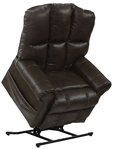 Catnapper Living Room Set - Catnapper Stallworth 4898 Leather Power Pow'r Lift Full Lay Out Chaise Recliner Chair with Comfor-Gel 450 Weight Capacity Godiva with In-Home Delivery