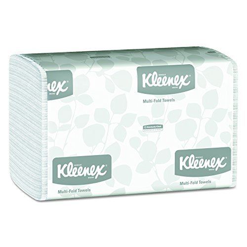 Kleenex 01890 Multi-Fold Paper Towels, 9 1/5 x 9 2/5, White, Pack of 150 (Case of 16 Packs)