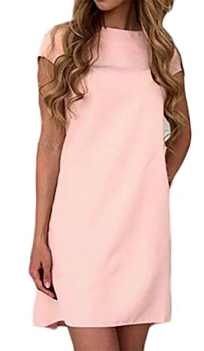 Fit Classico Vestito Tunica Girocollo Pianura Estate Cmc Rosa Womens Sottile Loose f5Pnzq0g