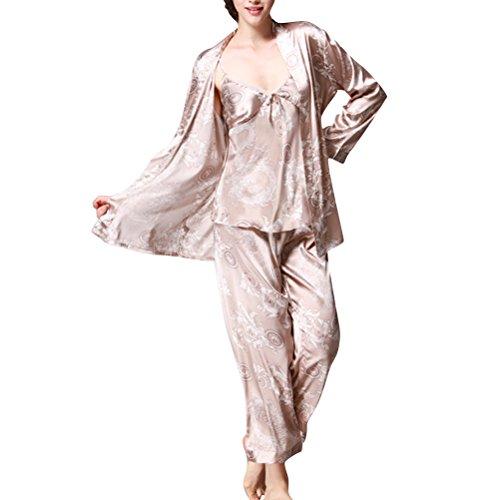 3Pcs Damen Nachtwäsche Set Elegant Lang Schlafanzüge Satin Pyjama Set mit Spitze und V-Ausschnitt Schlafanzug Hausanzug aus Seide, Blau/Khaki Khaki
