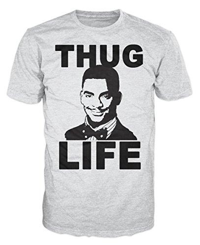 Thug Life Carlton Swag Funny T-shirt (XXL, Ash Grey)