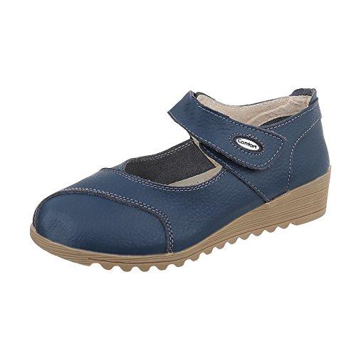 Schnür- & Riemchenpumps Leder Damenschuhe Klettverschluß Ital-Design Pumps Blau Beige 8011