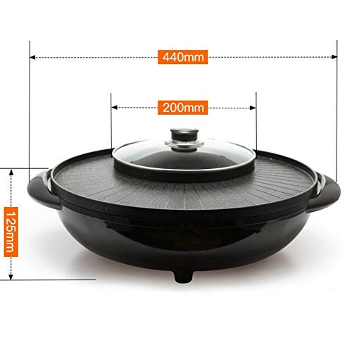 WSJTT Large Multi Cooker   Electric Frying Pan with Glass Lid,44cm Non-Stick Surface and Cool Touch Handles   Cooker Pot Electric Hot Pot Electric Barbecue Electric Baking Pan 1500W by WSJTT (Image #5)