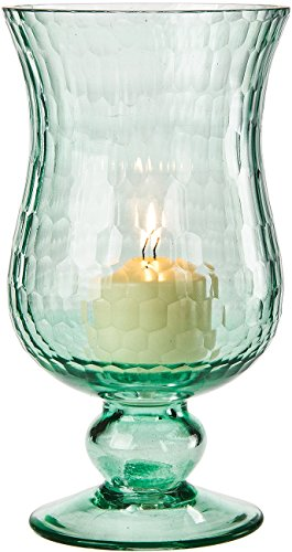 Luna Bazaar Small Glass Hurricane Candle Holder (7.5-Inch, Ice Blue)