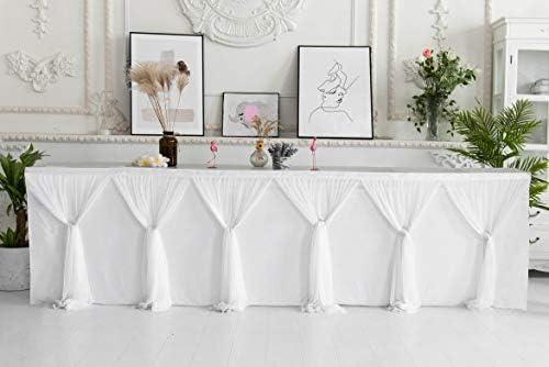 HBBMAGIC color/é Jupe de Table en Tulle pour Rectangle ou Table Ronde,d/écoration de Table en Tulle Arc en Ciel /à la Main pour la f/ête,Mariage,Anniversaire,Carnaval,d/écorations de Chambre de Licorne