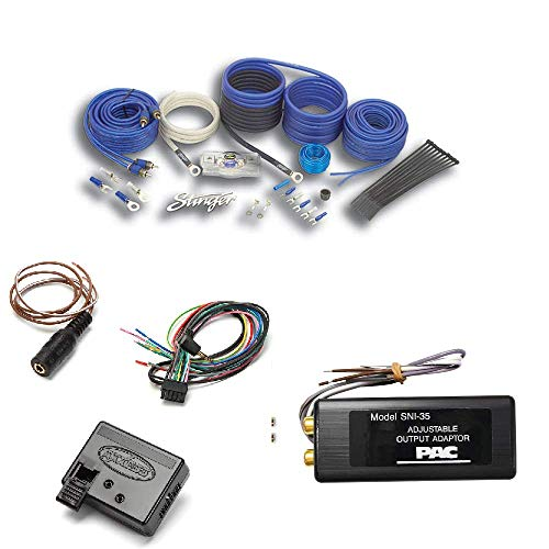 SK6681 Stinger 800 WATT 8 Gauge AWG AMP Amplifier Install Wiring KIT RCA Cables PAC SNI-35 Variable LOC Line Out Converter Metra Axxess ASWC-1 Universal Steering Wheel Control (Series 800 Audio Interconnect Cable)
