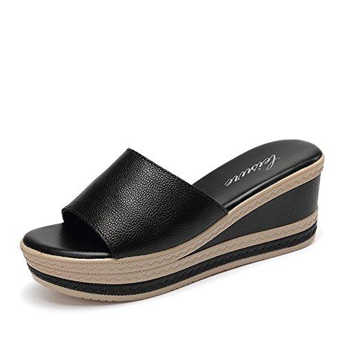 5cm Femenina Tacón negro Negro Del Zapatillas De Mujer Salvajes Deslizadores Antideslizantes Mujeres Para Verano blanco Haizhen La Alto Libre Al Manera Zapatos 6 Gruesos Aire OvvPFyX