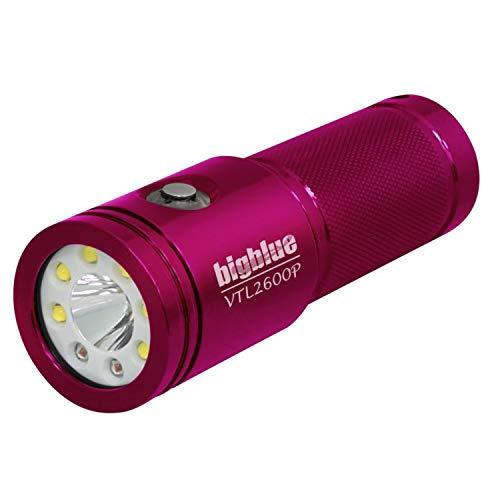 BigBlue VTL2600P - 2600 Lumen Dual-Beam Video/Tech Dive Light (Glossy - Dive Light Pink