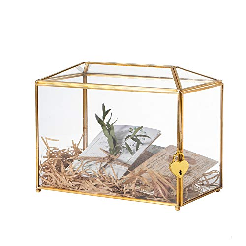 NCYP Large Geometric Glass Card Box Terrarium with Slot and Heart Lock, Foot, Gold, Handmade, Brass,for Wedding Receiption, Wishwell, Keepsake Centerpiece, Glass Box and Lock Only