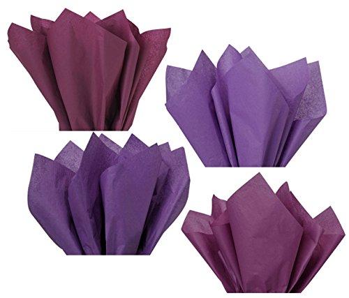 Plum Lavender Violet Purple Assorted Mixed Color Mulit-Pack Tissue Paper for Flower Pom Poms Art Craft Wedding Bridal Baby Shower Party Gift Bag Basket Filler Decoration (120 Sheets, 15