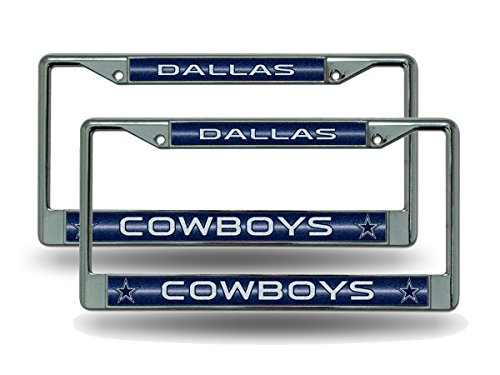 Rico Dallas Cowboys Chrome Metal (2) Bling License Plate Frame Set