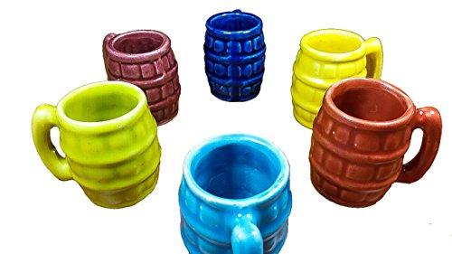 Mexican Jarritos, Barrilitos shaped, Set of 6 Traditional Handmade Tequila & Mezcal Clay Shot Glasses. -