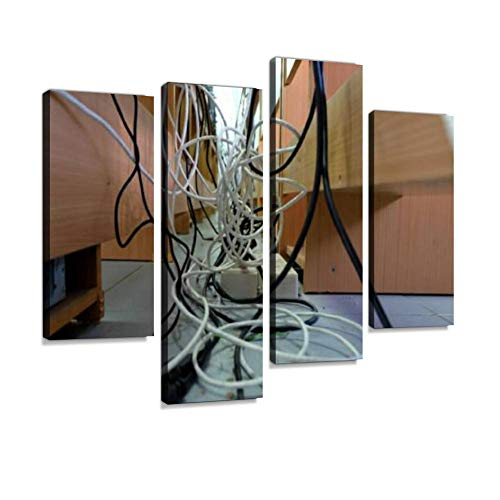 Canvas Wall Art Painting Pictures LAN Cable Tangle Modern Artwork Framed Posters for Living Room Ready to Hang Home Decor 4PANEL